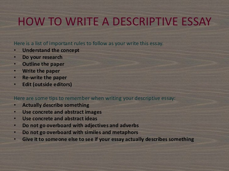 how to start a descriptive essay about a car A descriptive essay requires you to formulate a vivid image in the readers head how to write a descriptive essay start from an exciting point.