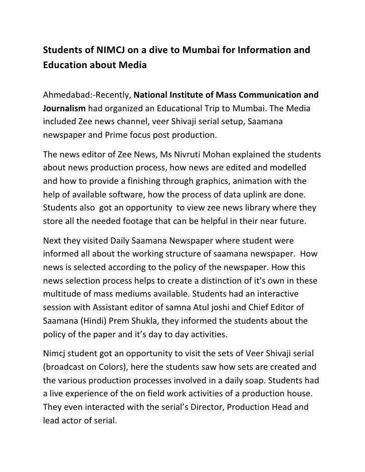 Students of NIMCJ on a dive to Mumbai for Information andEducation about MediaAhmedabad:-Recently, National Institute of M...