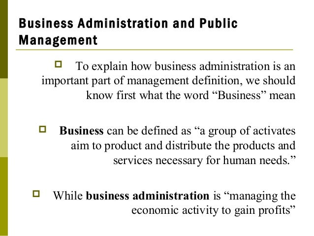 Business Administration And Public