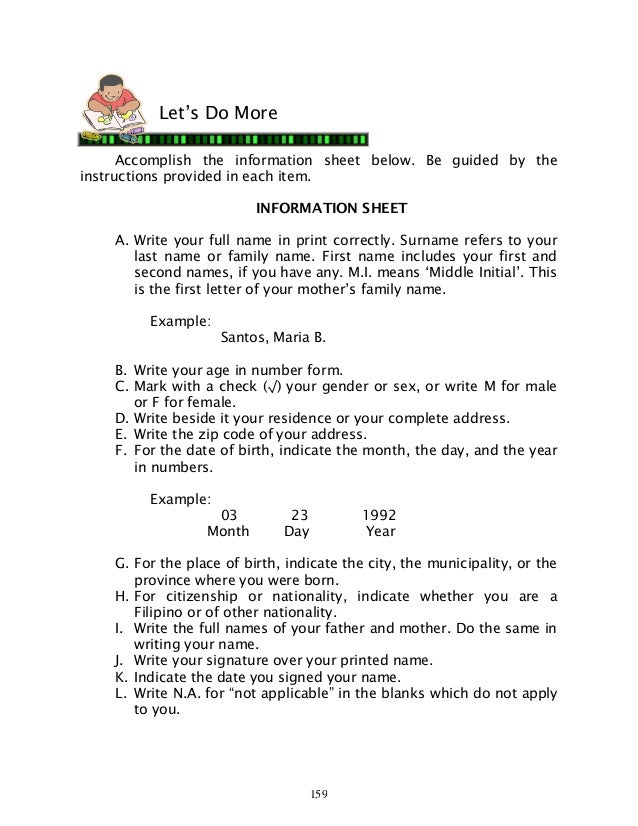 Information Sheet Example Page Of The Original Aml Participant
