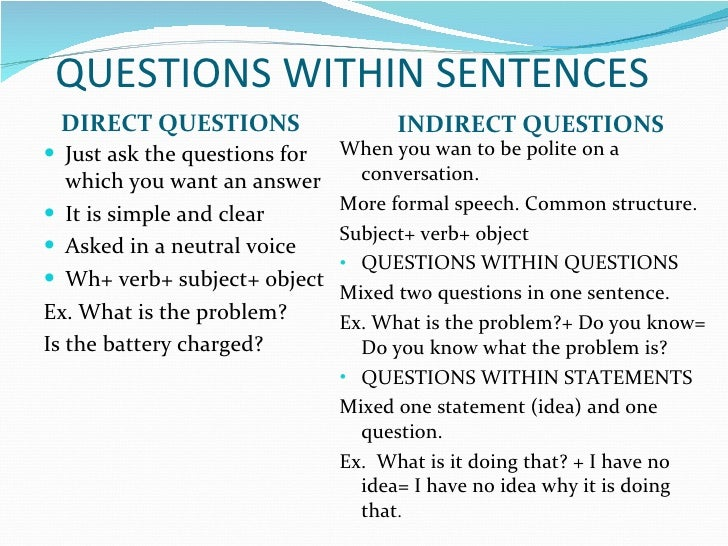 english direct and indirect questions