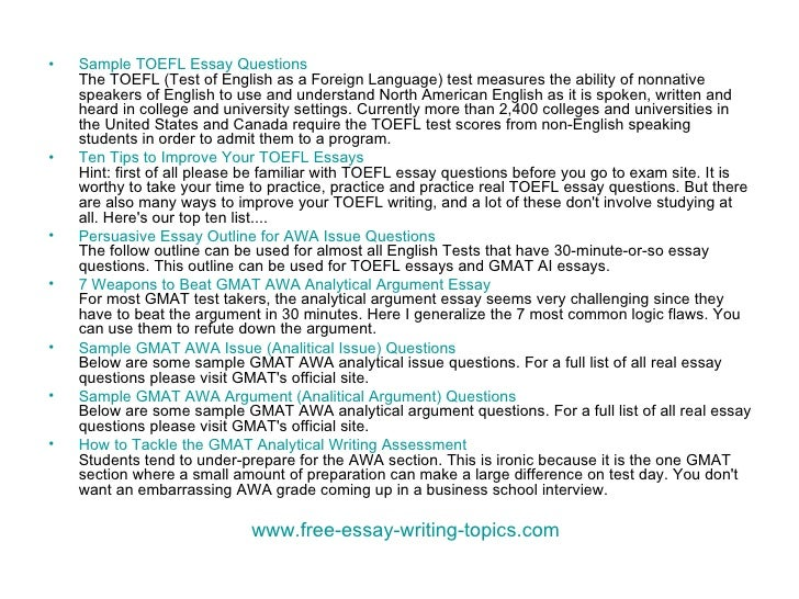 Essay writing program toefl topics