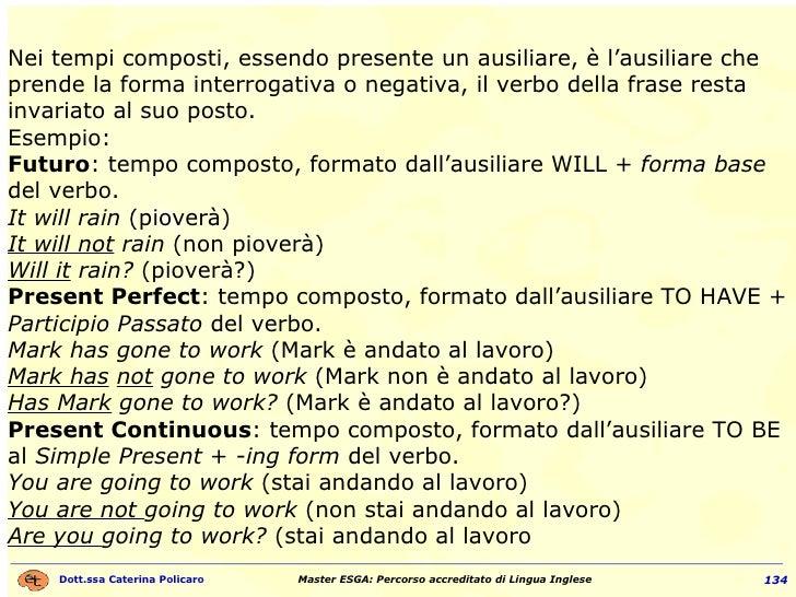 Nei tempi composti, essendo presente un ausiliare, è l'ausiliare che prende la forma interrogativa o negativa, il verbo de...