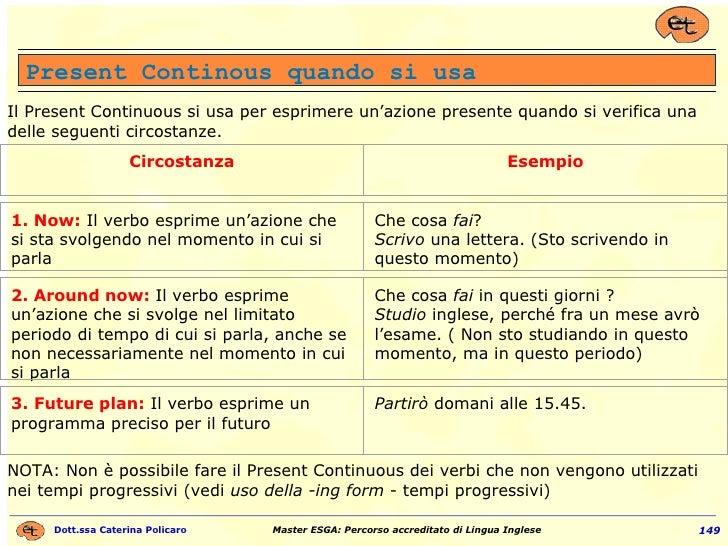 Il Present Continuous si usa per esprimere un'azione presente quando si verifica una delle seguenti circostanze.  NOTA: N...