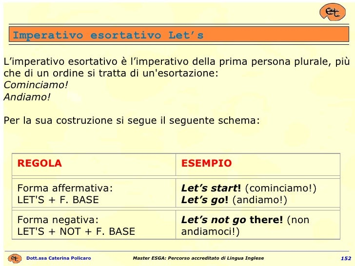 L'imperativo esortativo è l'imperativo della prima persona plurale, più che di un ordine si tratta di un'esortazione: Comi...