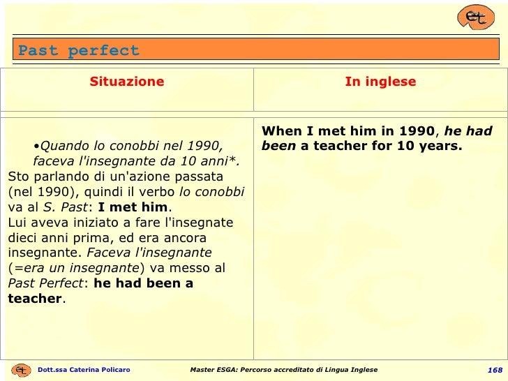 Past perfect Situazione In inglese <ul><ul><li>Quando lo conobbi nel 1990, faceva l'insegnante da 10 anni*. </li></ul></ul...