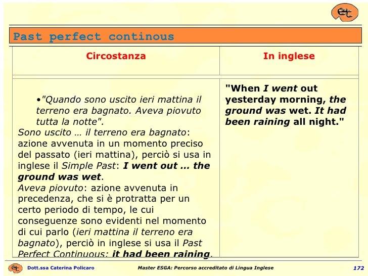 Past perfect continous Circostanza In inglese <ul><ul><li>&quot;Quando sono uscito ieri mattina il terreno era bagnato. Av...
