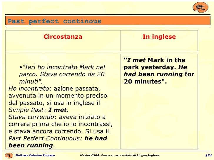 Past perfect continous Circostanza In inglese <ul><ul><li>&quot;Ieri ho incontrato Mark nel parco. Stava correndo da 20 mi...