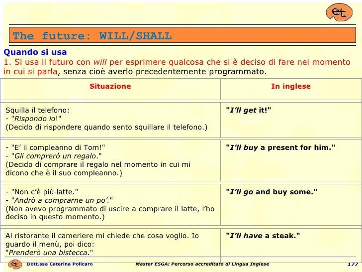 The future: WILL/SHALL Quando si usa 1.   Si usa il futuro con  will  per esprimere qualcosa che si è deciso di fare nel m...