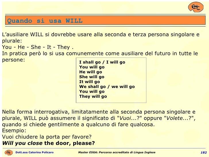 L'ausiliare WILL si dovrebbe usare alla seconda e terza persona singolare e plurale: You - He - She - It - They . In prati...