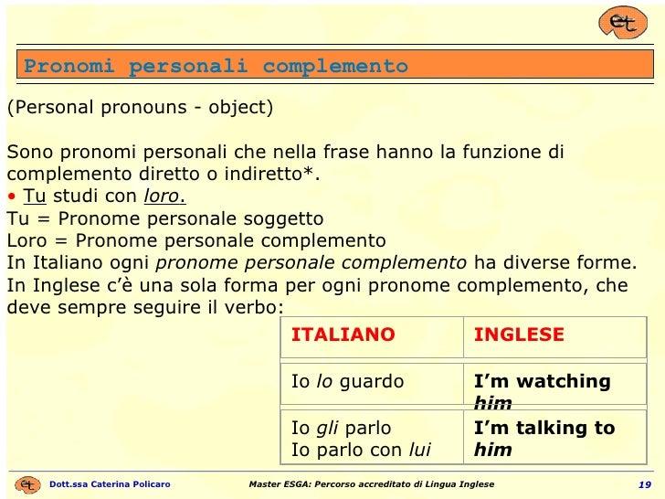 Pronomi personali complemento (Personal pronouns - object) Sono pronomi personali che nella frase hanno la funzione di com...