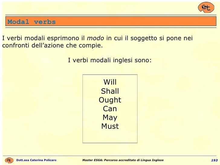 Modal verbs I verbi modali esprimono il  modo  in cui il soggetto si pone nei confronti dell'azione che compie. I verbi mo...