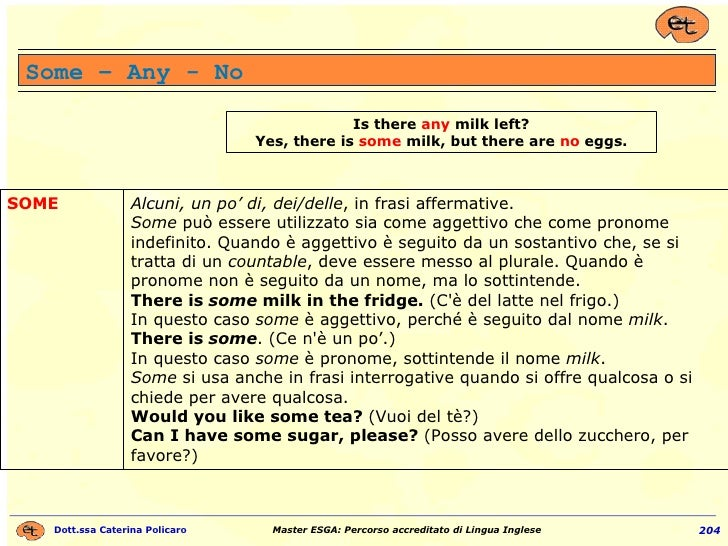 Some – Any - No Is there  any  milk left? Yes, there is  some  milk, but there are  no  eggs. Alcuni, un po' di, dei/delle...