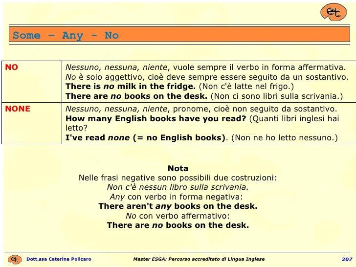 Some – Any - No Nota Nelle frasi negative sono possibili due costruzioni: Non c'è nessun libro sulla scrivania. Any  con v...
