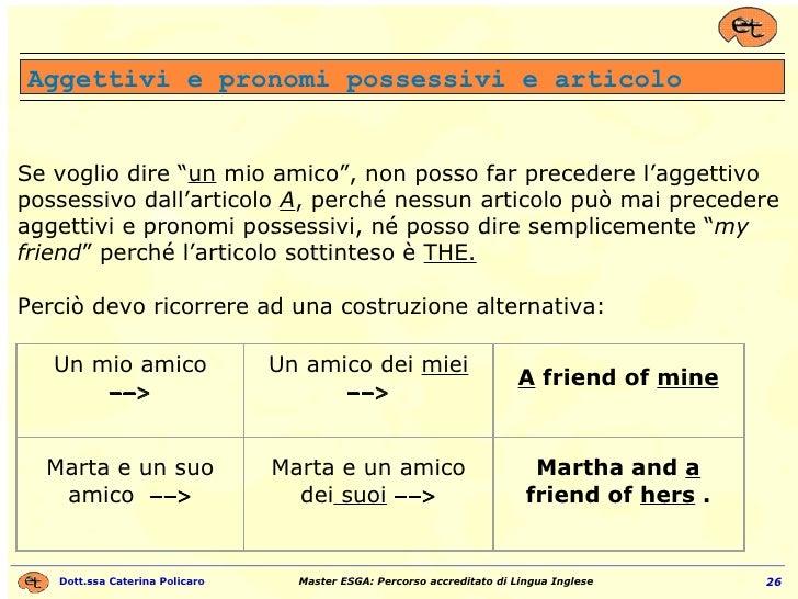 """Aggettivi e pronomi possessivi e articolo Se voglio dire """" un  mio amico"""", non posso far precedere l'aggettivo possessivo ..."""