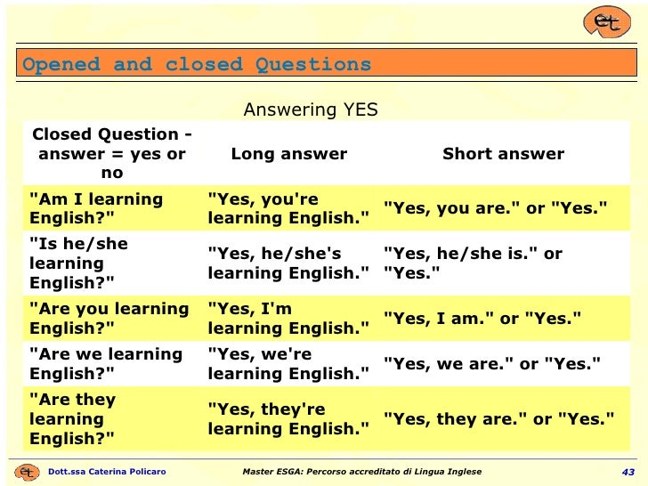 """Opened and closed Questions Answering YES """"Yes, they are."""" or """"Yes."""" """"Yes, they're learning Engli..."""