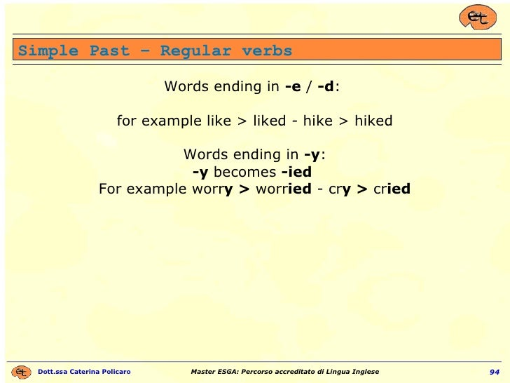 Words ending in  -e  /  -d :  for example like > liked - hike > hiked Words ending in  -y : -y  becomes  -ied   For exampl...