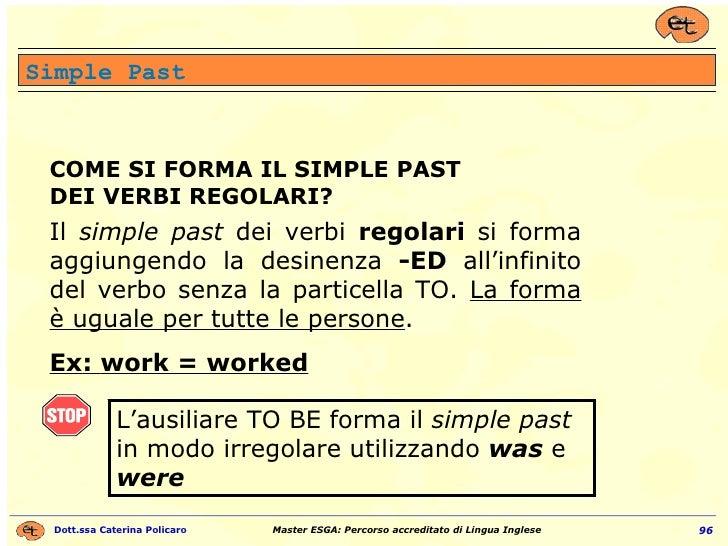 COME SI FORMA IL SIMPLE PAST DEI VERBI REGOLARI? Il  simple past  dei verbi  regolari  si forma aggiungendo la desinenza  ...
