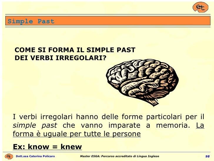 COME SI FORMA IL SIMPLE PAST DEI VERBI  IRREGOLARI ? I verbi irregolari hanno delle forme particolari per il  simple past ...
