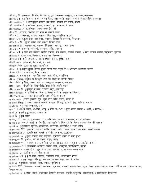 Hindi Dictionary Pdf