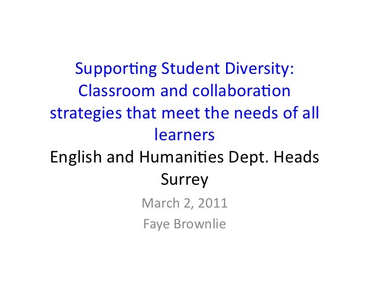 Suppor&ng	  Student	  Diversity:	  	      Classroom	  and	  collabora&on	  strategies	  that	  meet	  the	  needs	  of	  a...