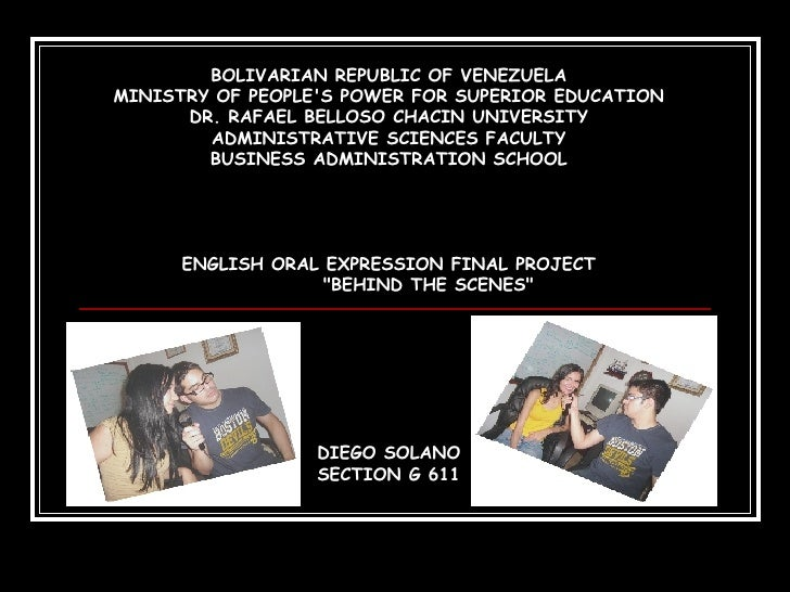 BOLIVARIAN REPUBLIC OF VENEZUELA MINISTRY OF PEOPLE'S POWER FOR SUPERIOR EDUCATION DR. RAFAEL BELLOSO CHACIN UNIVERSITY AD...