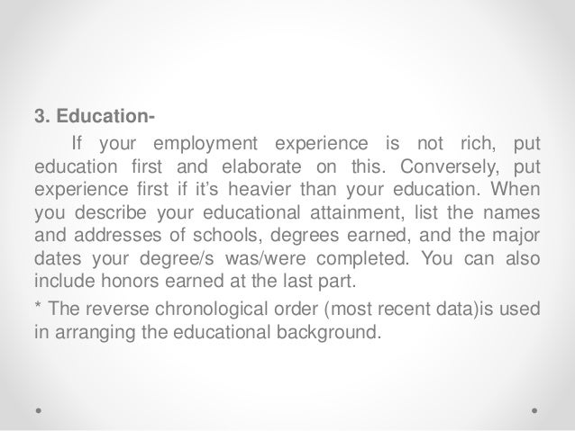example 9 3 education if your employment experience - Describe Your Educational Experience
