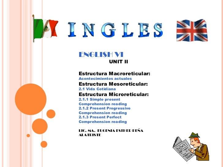 ENGLISH VI UNIT II Estructura Macroreticular:   Acontecimientos actuales Estructura Mesoreticular:  2.1 Vida Cotidiana Est...