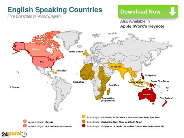 English Speaking Countries Map PowerPoint