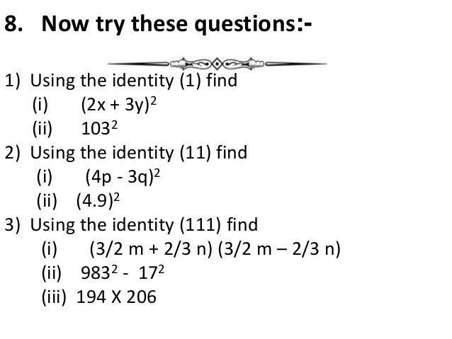 Algebraic Expression Class Viii
