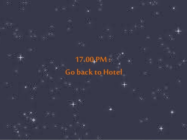 17.00 PM :  Go back to Hotel