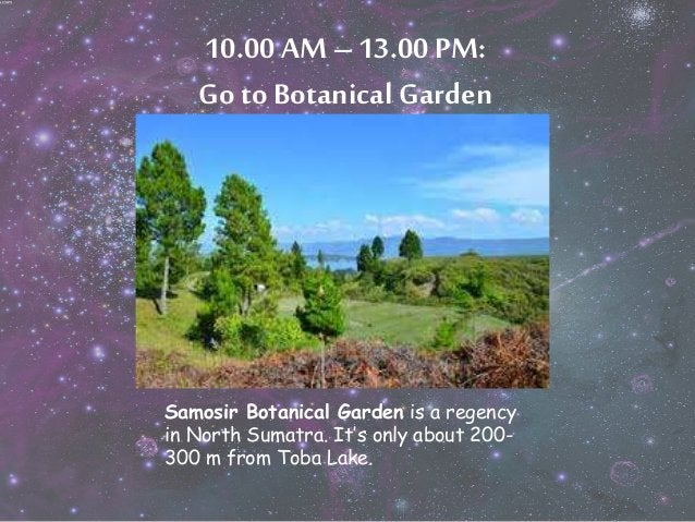 10.00 AM – 13.00 PM:  Go to Botanical Garden  Samosir Botanical Garden is a regency  in North Sumatra. It's only about 200...