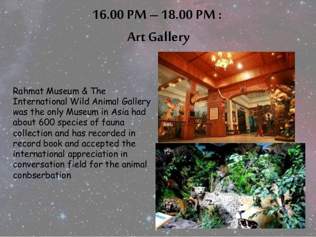 16.00 PM – 18.00 PM :  Art Gallery  Rahmat Museum & The  International Wild Animal Gallery  was the only Museum in Asia ha...
