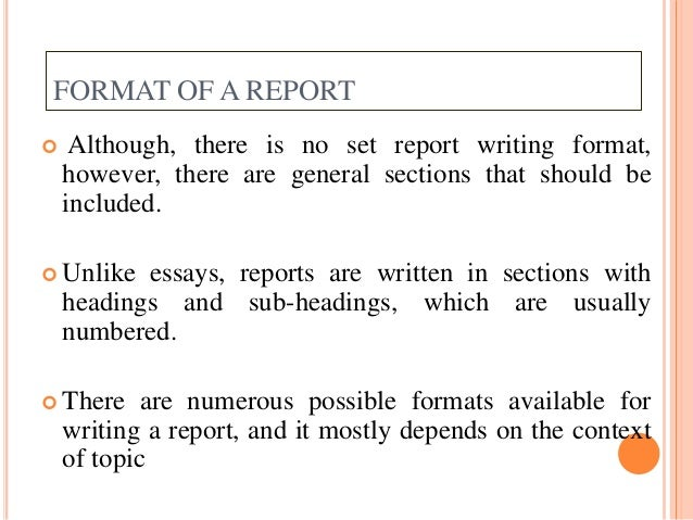 FORMAT ...  Format For Report