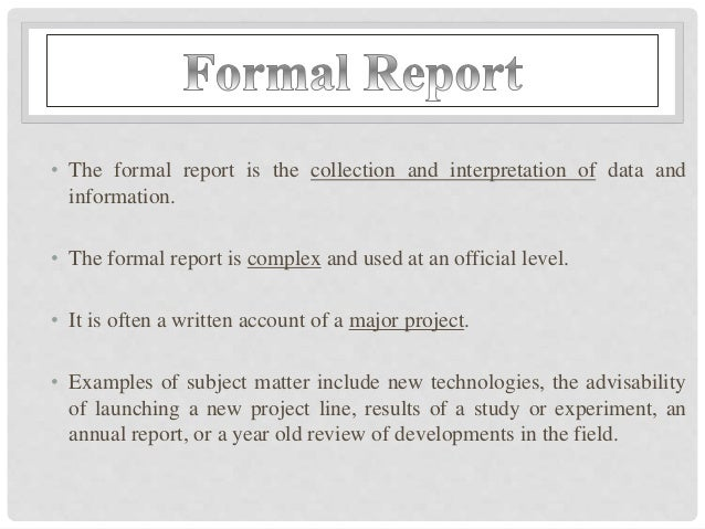 Credit Report; 6.  Layout Of A Formal Report