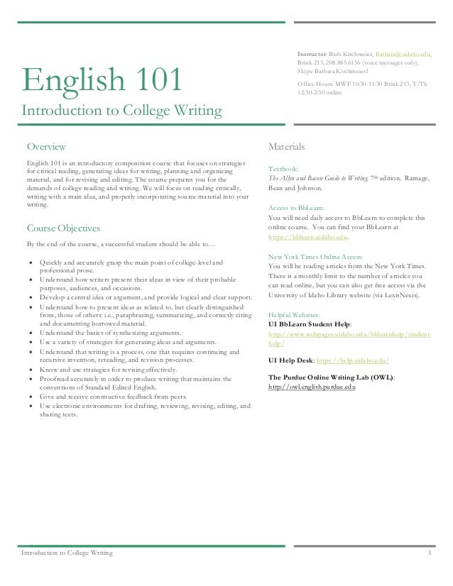 English 101 reflection paper