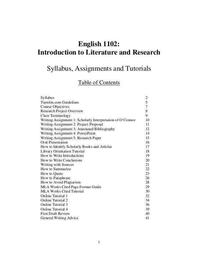 1 English 1102: Introduction to Literature and Research Syllabus, Assignments and Tutorials Table of Contents Syllabus 2 T...