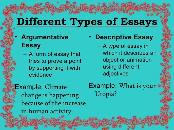 classifications of essay Note: with all the types of rhetorical strategy mentioned below, we are not talking  about essay types, but about rhetorical styles which writers use for particular.