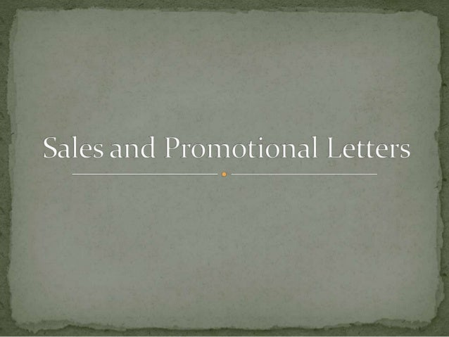 sales and promotional letters