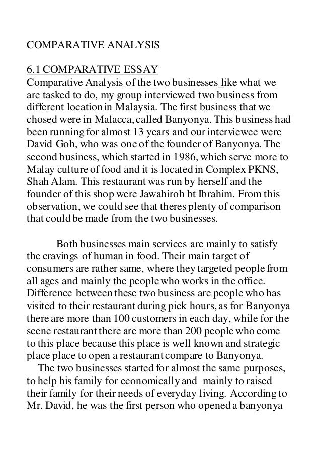COMPARATIVE ANALYSIS OF 2 RESTAURANTS REPORT
