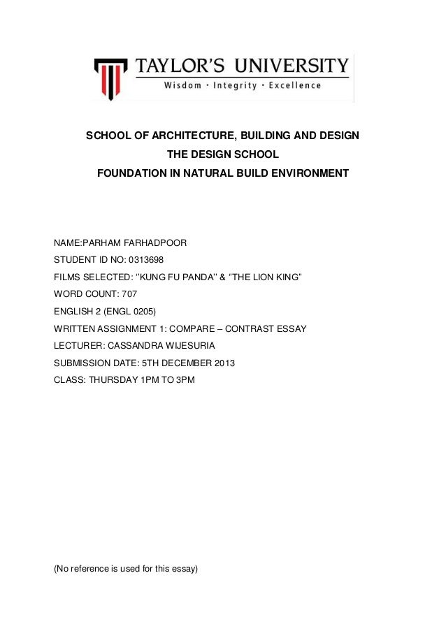 SCHOOL OF ARCHITECTURE, BUILDING AND DESIGN THE DESIGN SCHOOL FOUNDATION IN NATURAL BUILD ENVIRONMENT  NAME:PARHAM FARHADP...