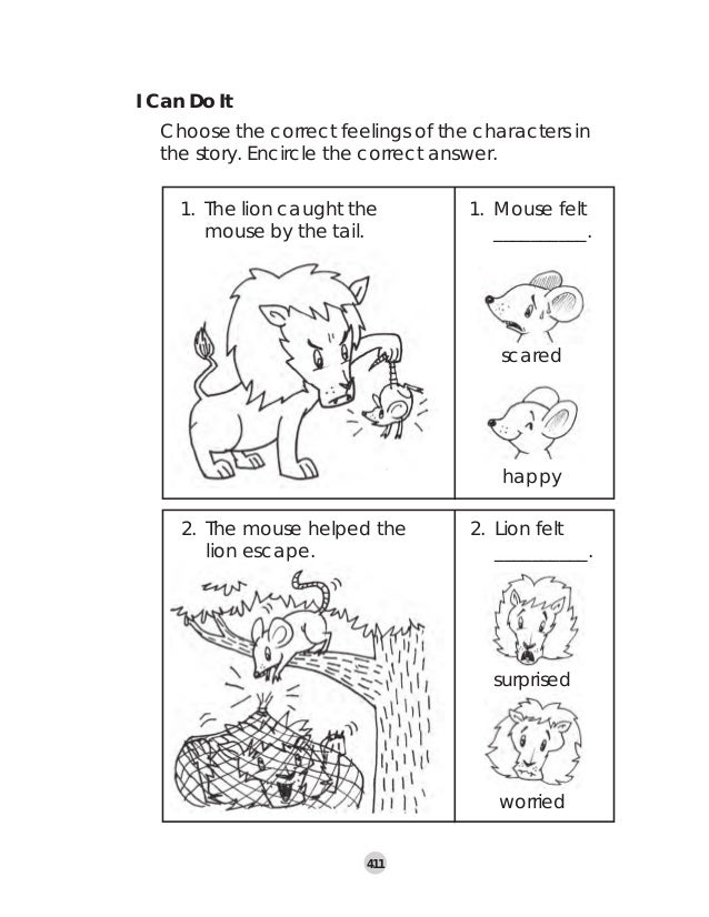 The Lion And The Mouse Worksheets on Fraction Strip