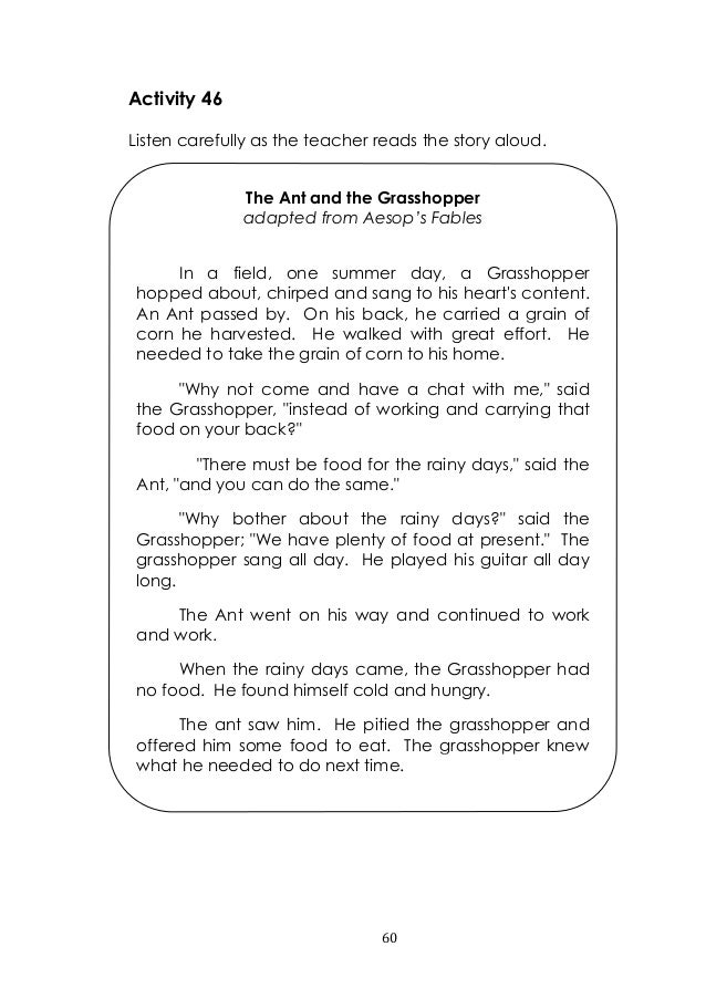 Printable Worksheets the grasshopper and the ant worksheets : English 3 lm quarter 1