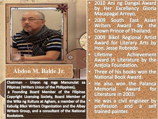 philippine literature from to present abdon m balde jr 4 • published writer
