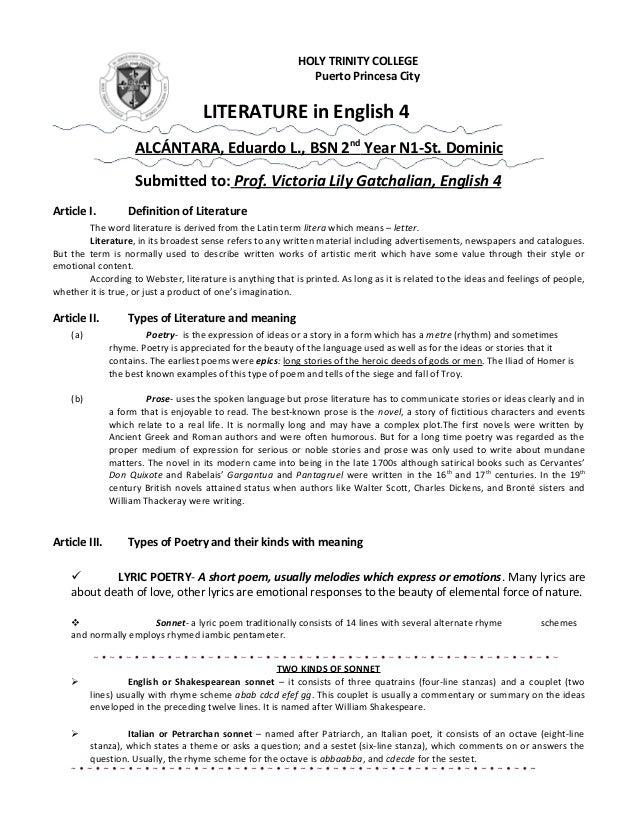 HOLY TRINITY COLLEGE Puerto Princesa City  LITERATURE in English 4 ALCÁNTARA, Eduardo L., BSN 2nd Year N1-St. Dominic Subm...