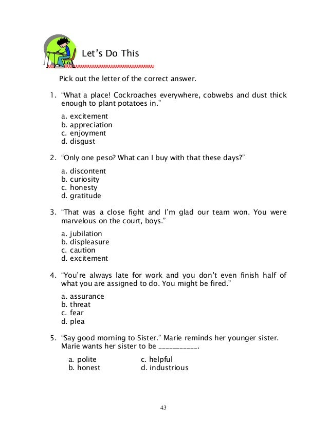 Worksheets Inferring Character Traits Worksheets Answer Key english 6 dlp 38 inferring the general mood of selection 4