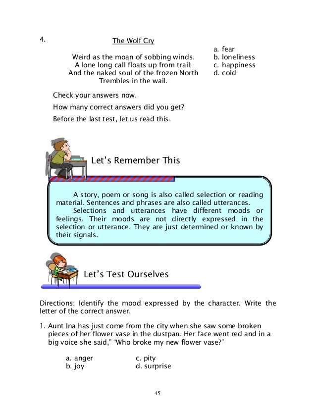 Worksheets Inferring Character Traits Worksheets Answer Key english 6 dlp 38 inferring the general mood of selection exciting 6