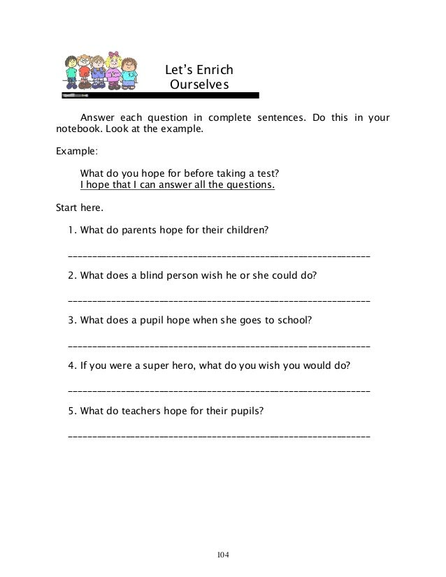 Free Worksheets super teachers worksheets com : English 6 dlp 43 using expression hope can wish could if were