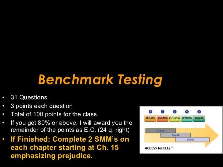 Benchmark Testing <ul><li>31 Questions </li></ul><ul><li>3 points each question </li></ul><ul><li>Total of 100 points for ...