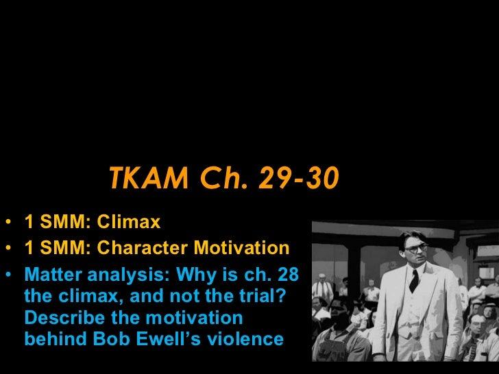 TKAM Ch. 29-30 <ul><li>1 SMM: Climax </li></ul><ul><li>1 SMM: Character Motivation </li></ul><ul><li>Matter analysis: Why ...